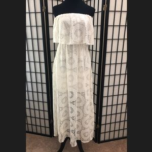 OFF WHITE STRAPLESS LACE PRINT MAXI DRESS.